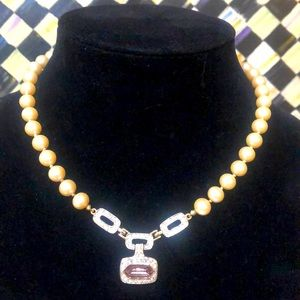 Vintage Givenchy Pearl & Crystal Necklace